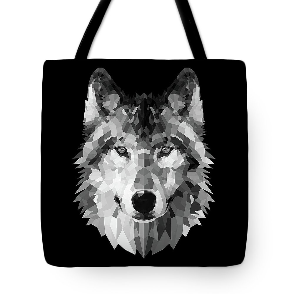 Wolf Tote Bag featuring the digital art Wolf's Face by Naxart Studio