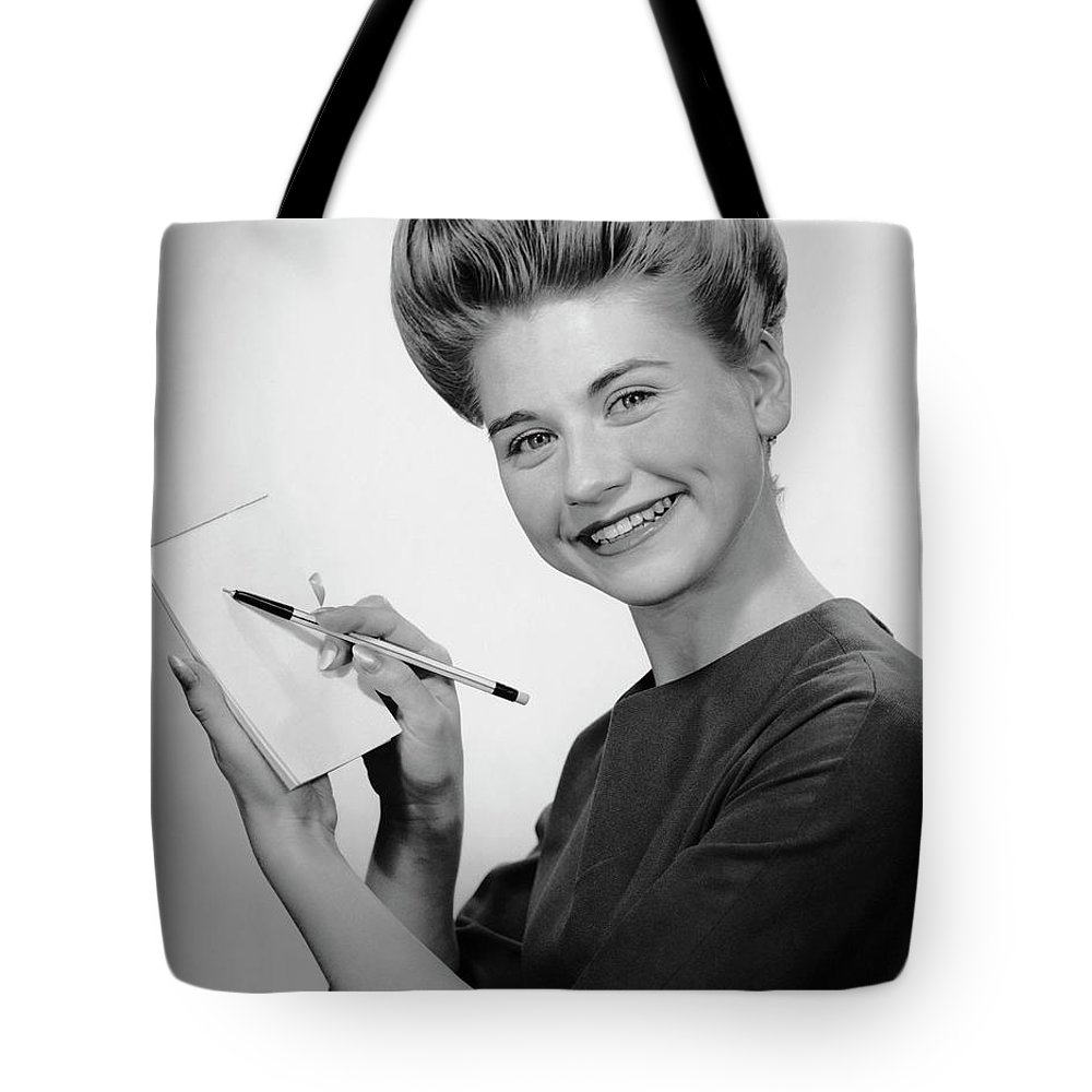 People Tote Bag featuring the photograph Woman Smiling Wpen & Pad by George Marks