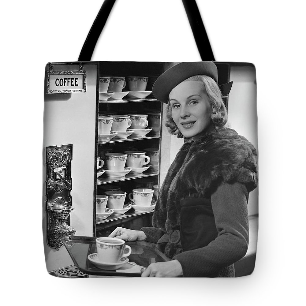 People Tote Bag featuring the photograph Woman Wcoffee On Tray by George Marks