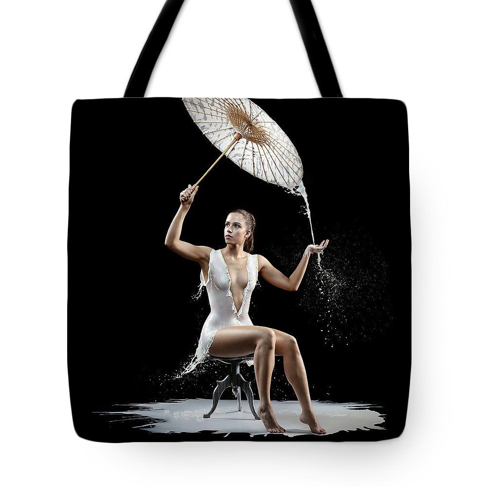 Woman Tote Bag featuring the photograph Woman With Milk Dress by Johan Swanepoel