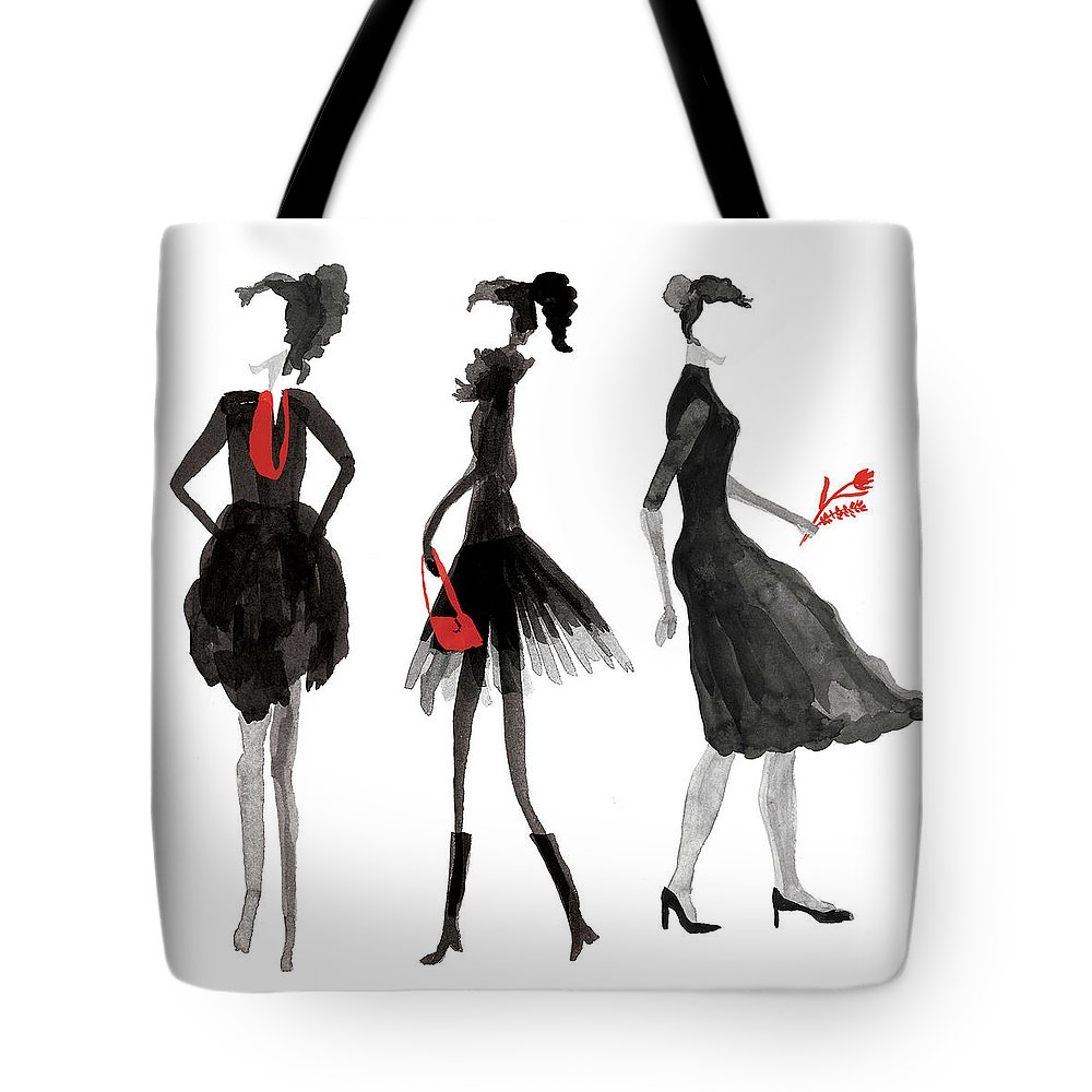 People Tote Bag featuring the digital art Women Silhouettes by Catarina Bessell