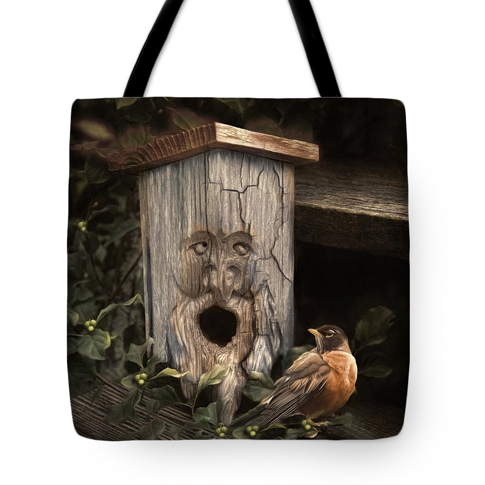 Woodsprite Tote Bag featuring the photograph Woodsprite by Robin-Lee Vieira