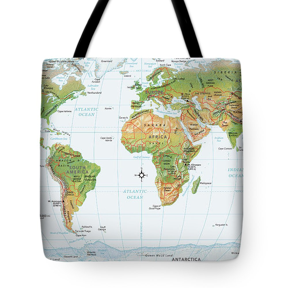 Equator Tote Bag featuring the digital art World Map, Physical by Globe Turner, Llc