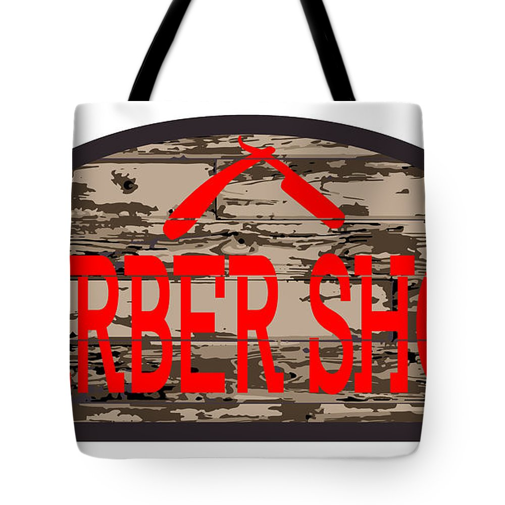Barber Tote Bag featuring the digital art Worn Barber Shop Wooden Store Sign by Bigalbaloo Stock