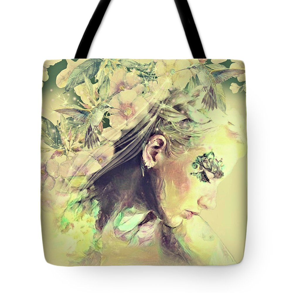 Yellow Trumpet Mixed Media Tote Bags