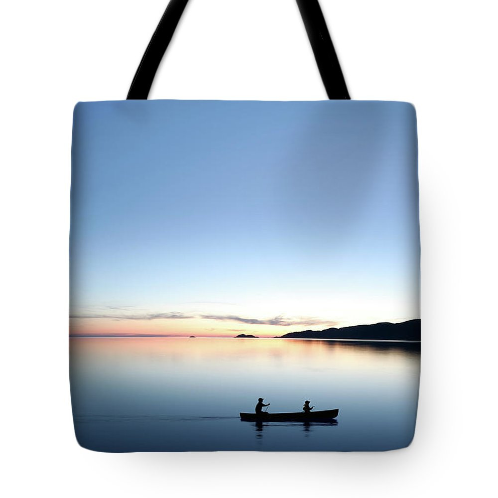Lake Michigan Tote Bag featuring the photograph Xxxl Twilight Canoeing by Sharply done