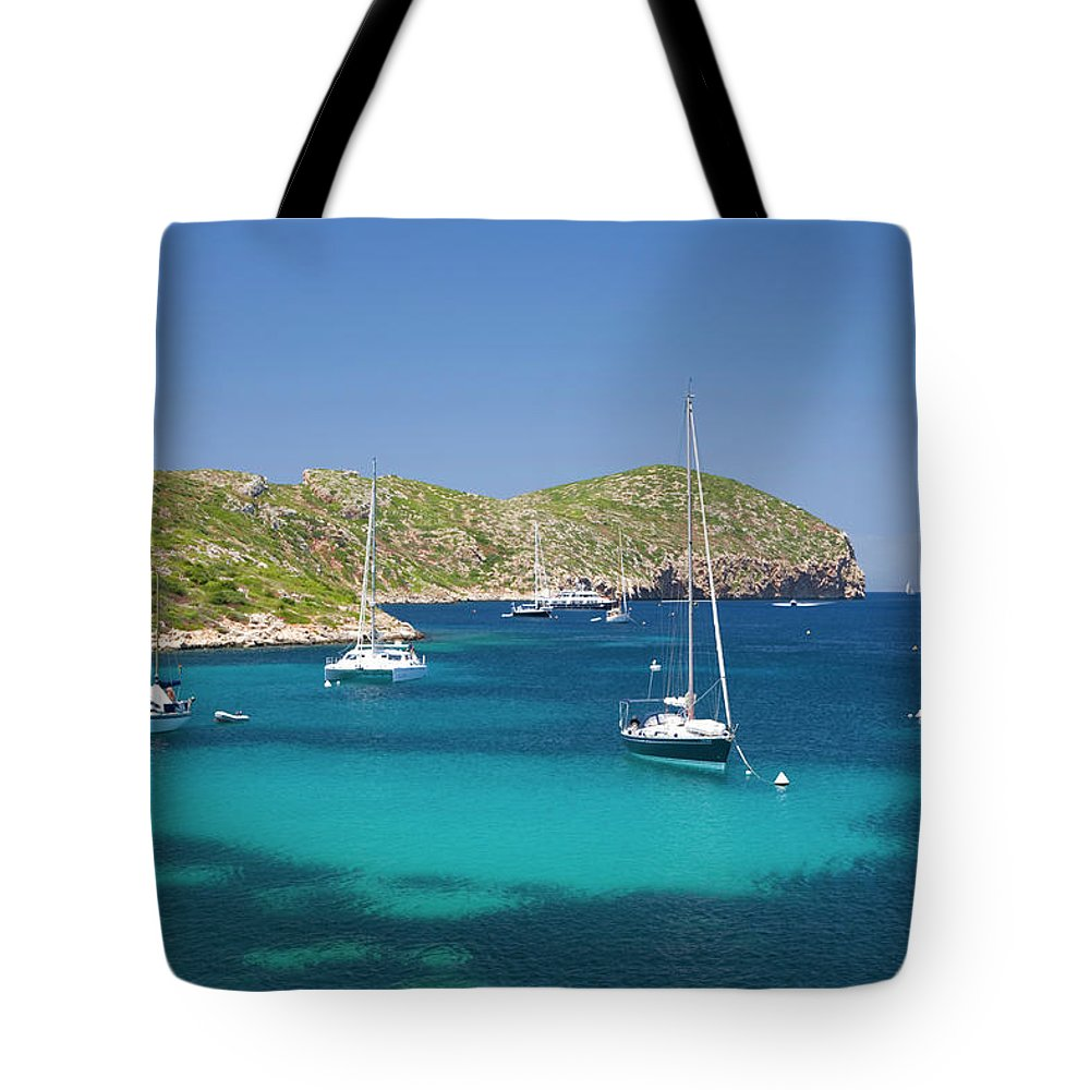 Outdoors Tote Bag featuring the photograph Yachts At Anchor In Cabreras Sheltered by David C Tomlinson