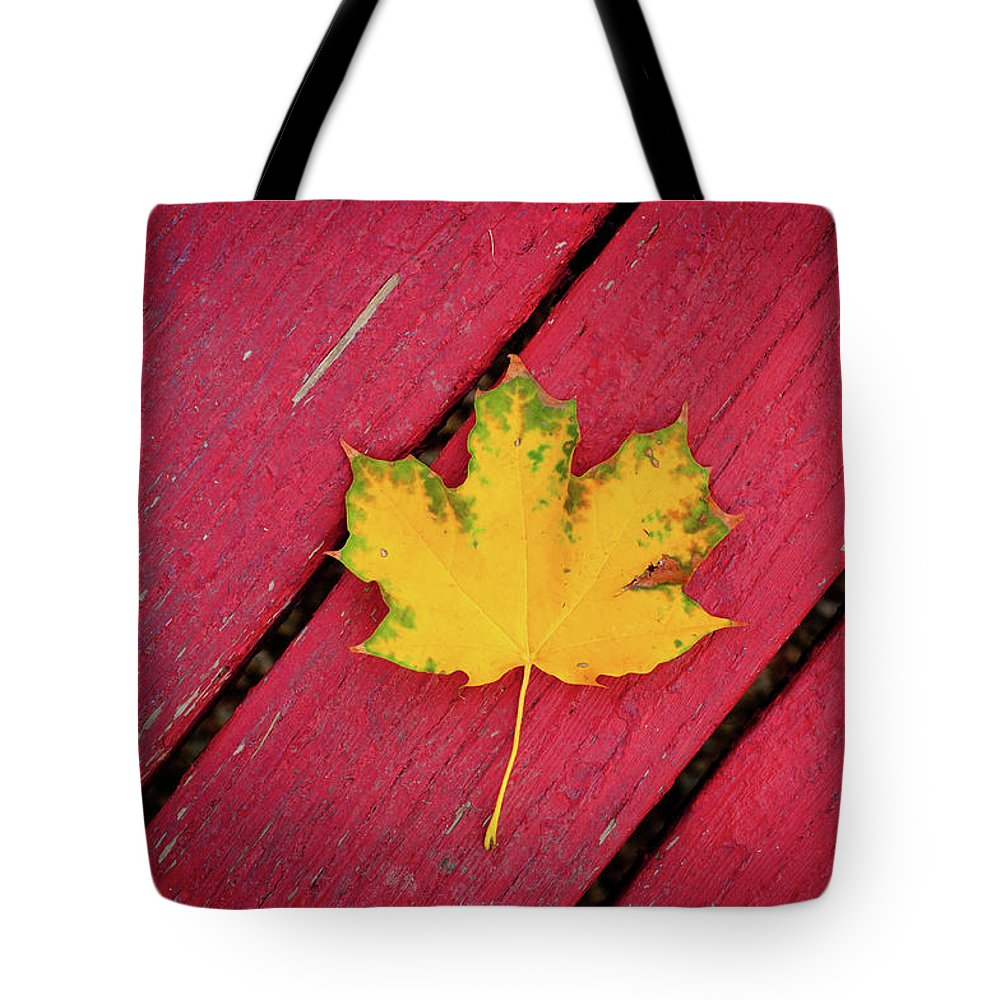 Outdoors Tote Bag featuring the photograph Yellow Maple Leaf Against A Red Deck by Photo By Sam Scholes