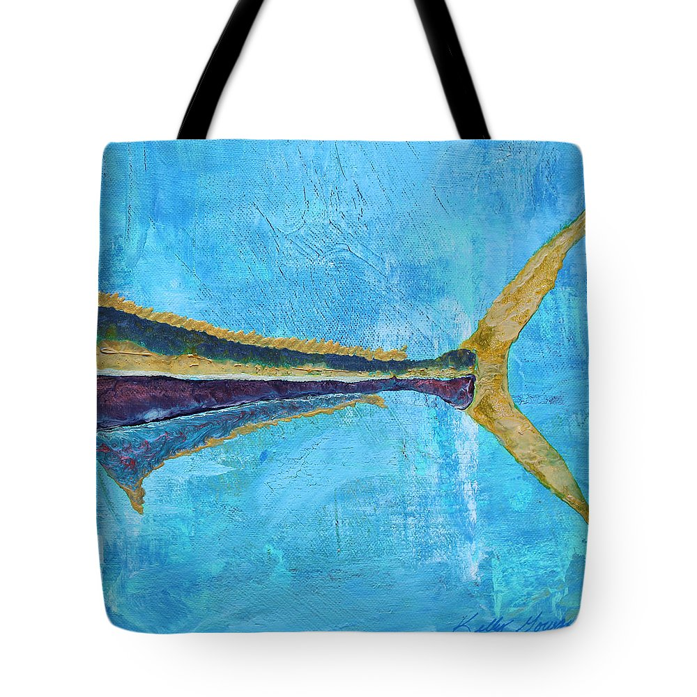 Yellow Tail Yellowtail Hawaii Hawaiian Fish Tropical Ocean Sea Sealife Tuna Sushi Fish Fishing Fin Animal Blue Island Vacation Scuba Diving Snorkel Snorkeling Diver Diving Underwater Bright Water Beach Tote Bag featuring the painting Yellow Tail by Kelly Gowan