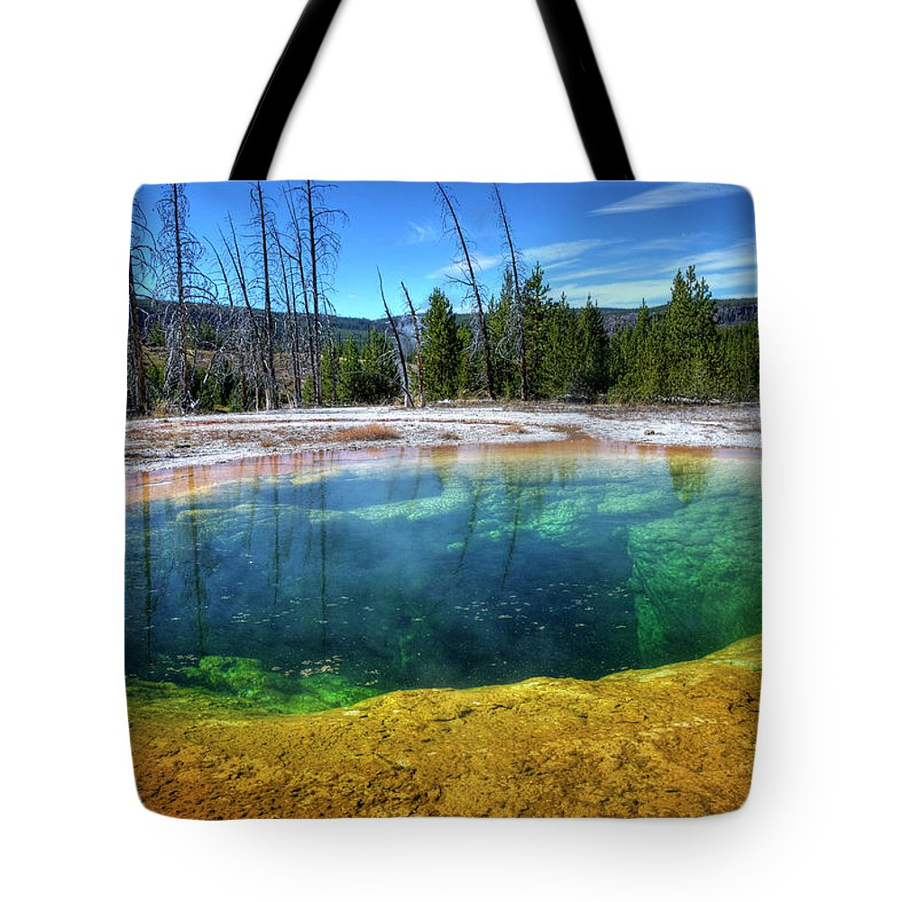Morning Glory Pool Tote Bag featuring the photograph Yellowstone Hot Spring by Dbushue Photography
