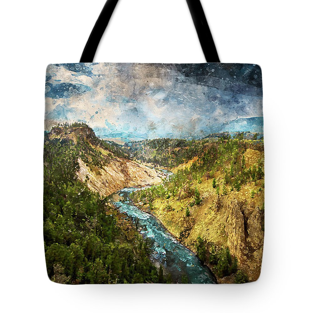Yellowstone National Park Tote Bag featuring the painting Yellowstone National Park - 05 by Andrea Mazzocchetti