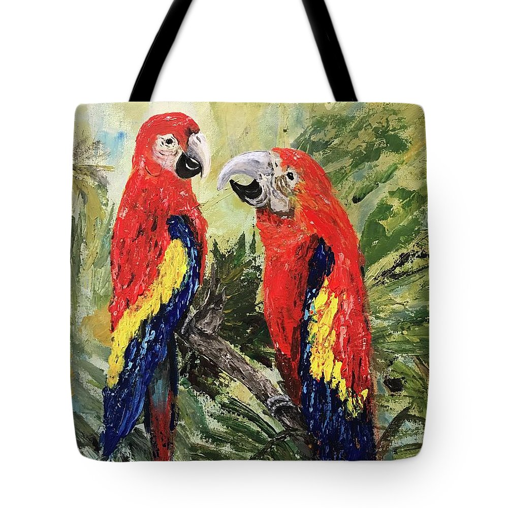 Scarlet Tote Bag featuring the painting Yes, Dear by Cathy Weaver