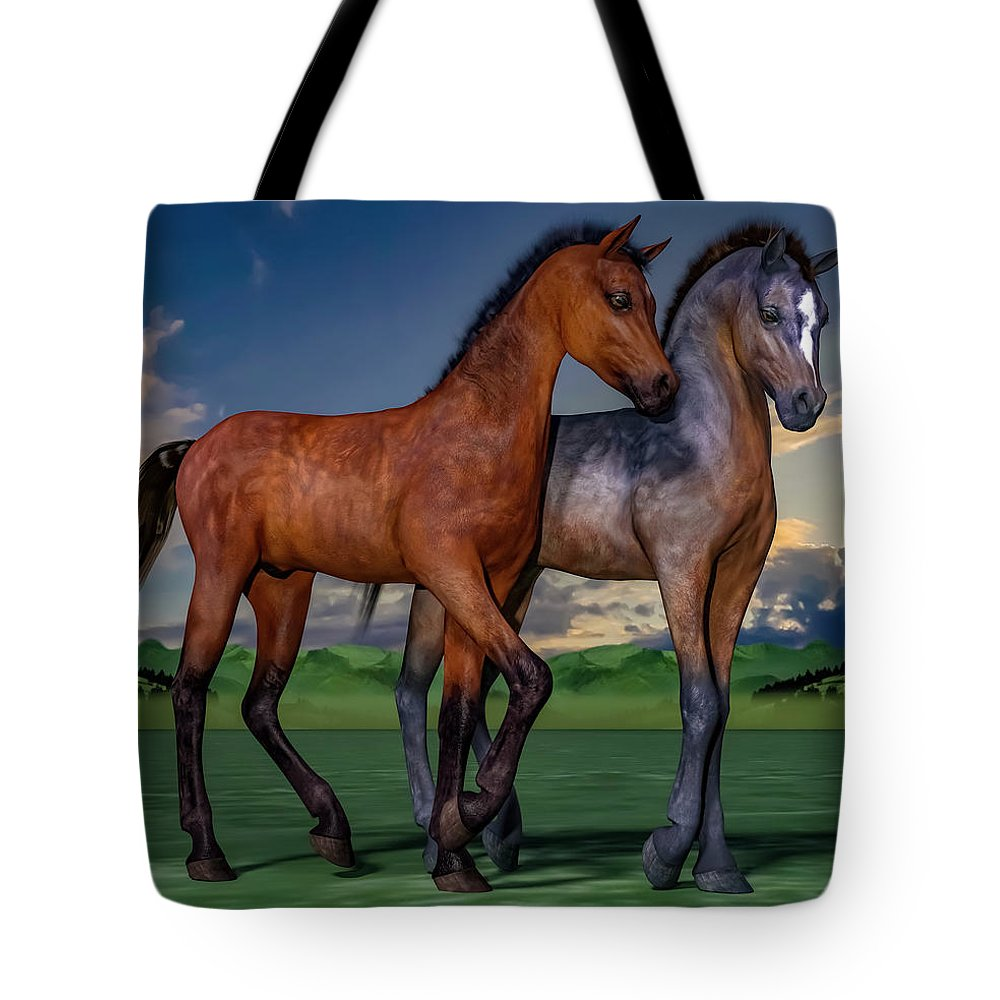 Foals Tote Bag featuring the digital art Young Spirits by Betsy Knapp