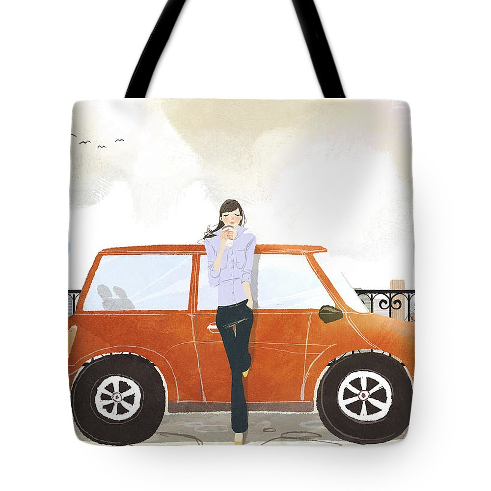 People Tote Bag featuring the digital art Young Woman Standing In Front Of Car by Eastnine Inc.