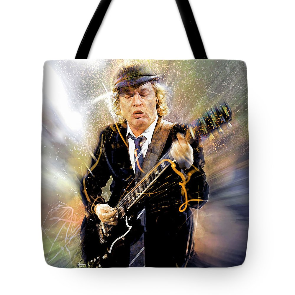 Angus Young Tote Bag featuring the digital art You've been thunderstruck by Mal Bray