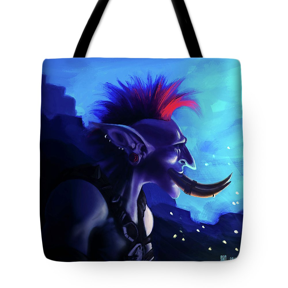 Troll Tote Bag featuring the digital art Zappy Boi by Sami Matilainen