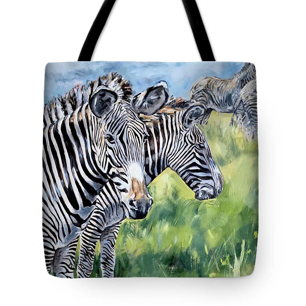 Zebra Tote Bag featuring the painting Zebras by Maria Reichert
