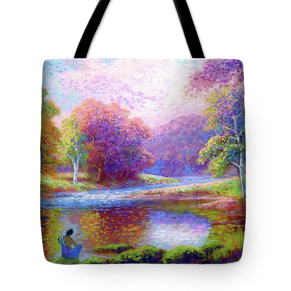 Meditation Tote Bag featuring the painting Zen Garden Meditation by Jane Small