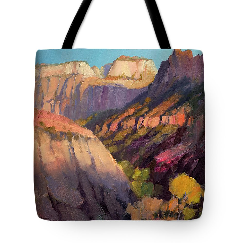 Zion Tote Bag featuring the painting Zion's West Canyon by Steve Henderson