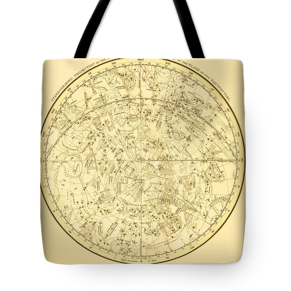 Engraving Tote Bag featuring the digital art Zodiac Map by Nicoolay
