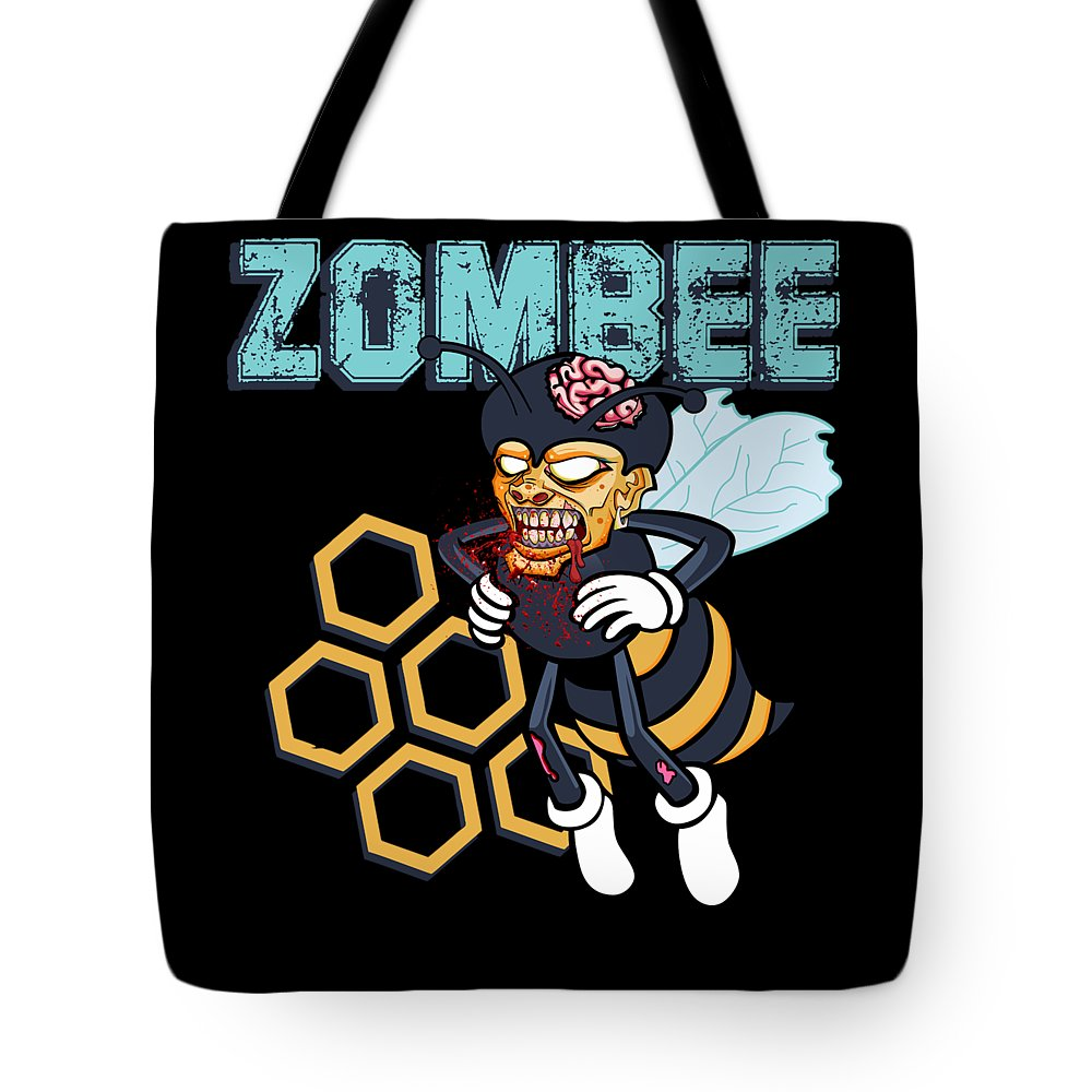 Halloween Tote Bag featuring the digital art Zombee Zombie Bee Halloween For Beekeeper Apiarist Dark Light by Nikita Goel