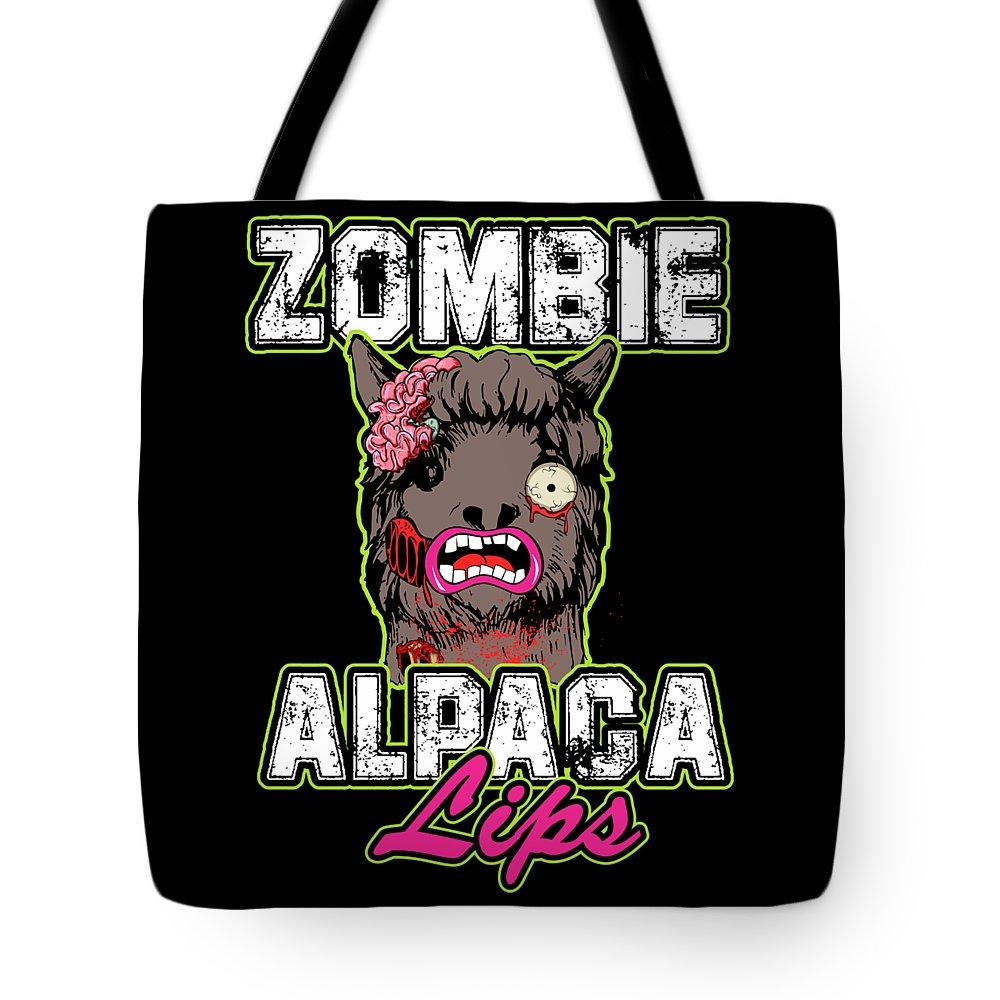 Halloween Tote Bag featuring the digital art Zombie Alpaca Lips Halloween Pun Llama Alpacalypse Dark by Nikita Goel