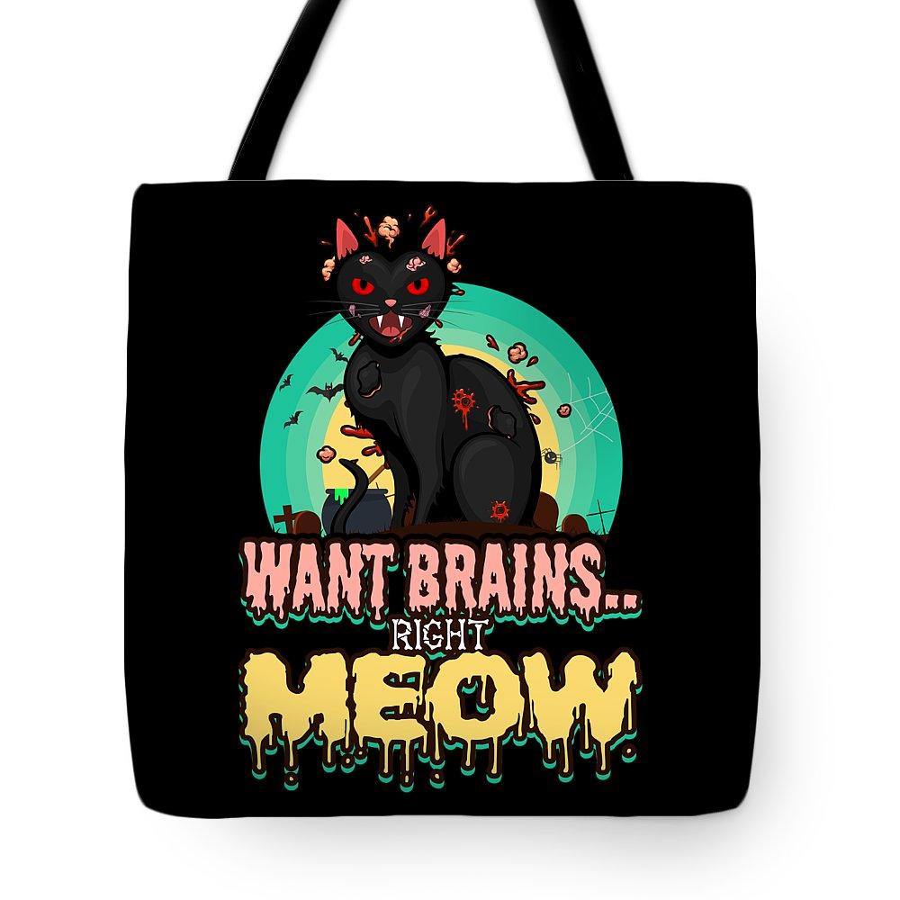 Halloween-cat Tote Bag featuring the digital art Zombie Cat Halloween Shirt Want Brains Right Meow Pun by Festivalshirt