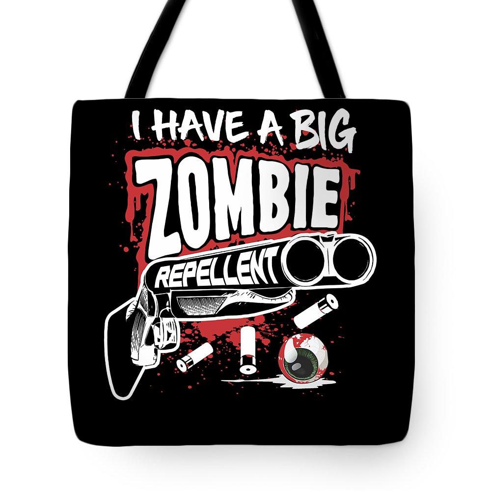 Halloween Tote Bag featuring the digital art Zombie Repellent Halloween Funny Gun Art Dark by Nikita Goel