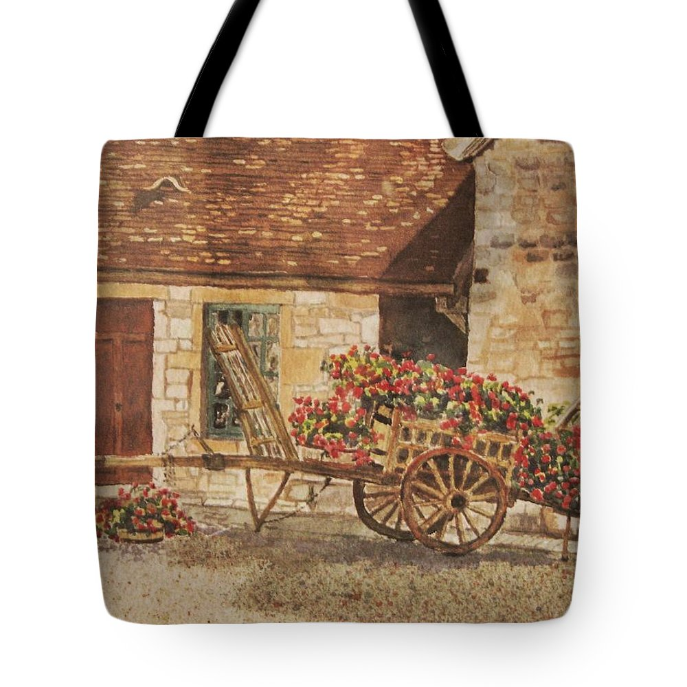 Rustic Tote Bag featuring the painting Vougeot French Vineyard by Mary Ellen Mueller Legault