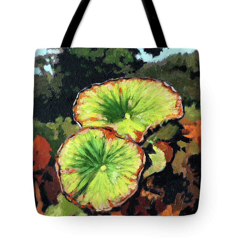Lotus Leaves Tote Bag featuring the painting Autumn Lotus Leaves by John Lautermilch