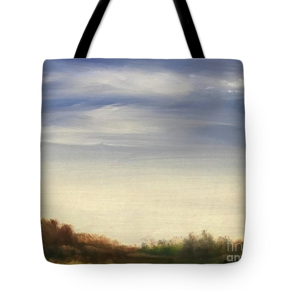 Blue Sky Landscape Tote Bag featuring the painting Blue Sky by Sheila Mashaw