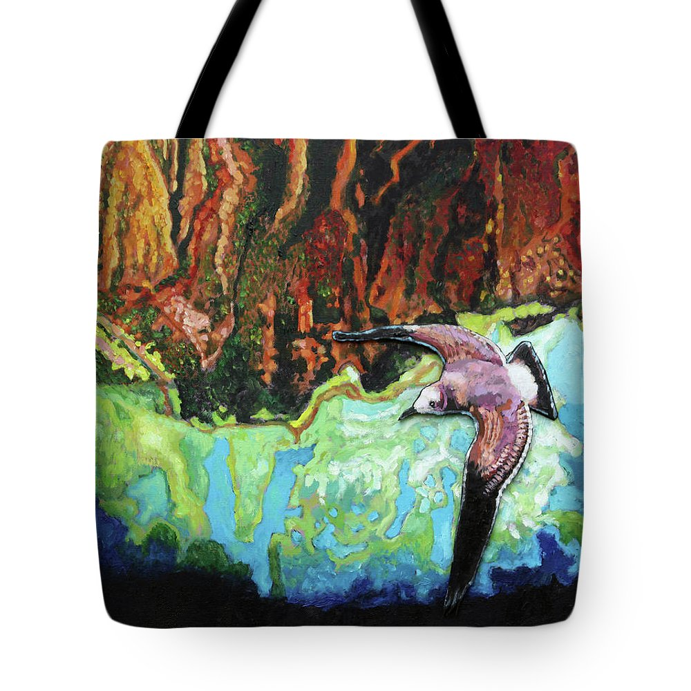 Sea Gull Tote Bag featuring the painting Flying High by John Lautermilch