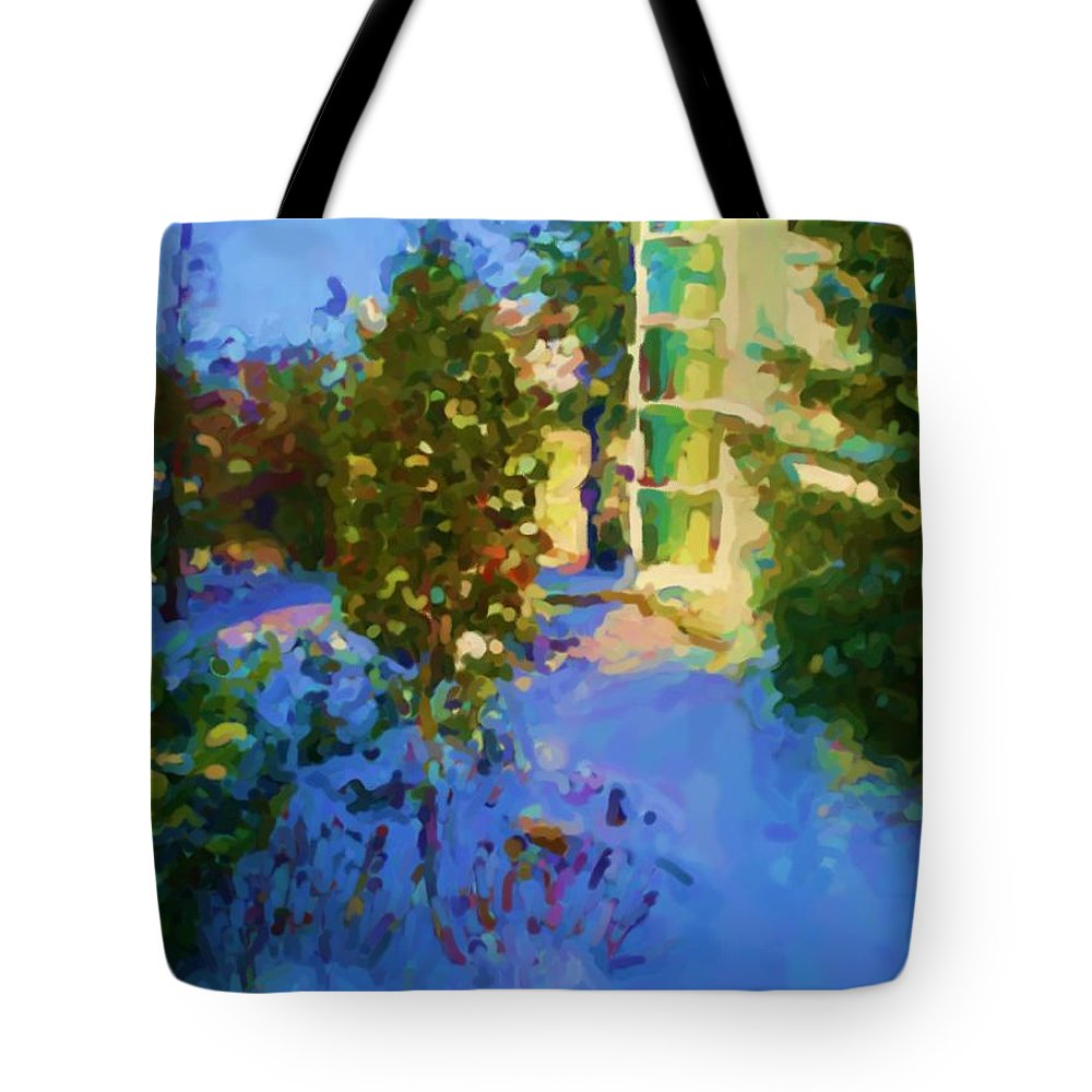 Hedensted Tote Bag featuring the mixed media Hedensted by Asbjorn Lonvig