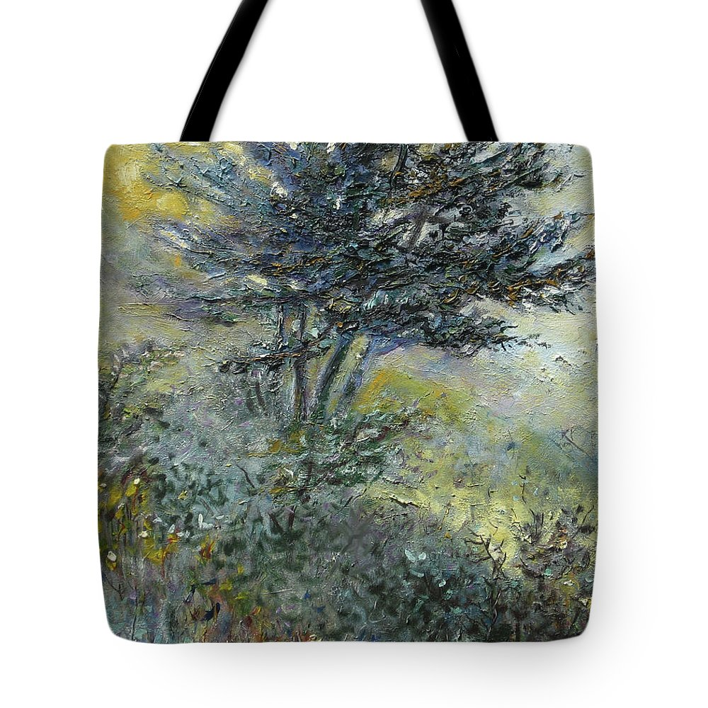 Tote Bag featuring the painting Lakefront Trees 2 - Original Oil 16x20 by Doug Jerving