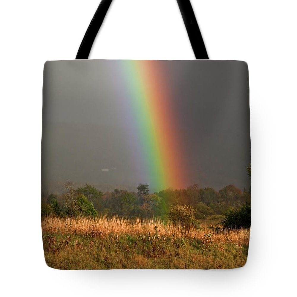 Rainbow Tote Bag featuring the photograph Rainbow by Trevor Slauenwhite