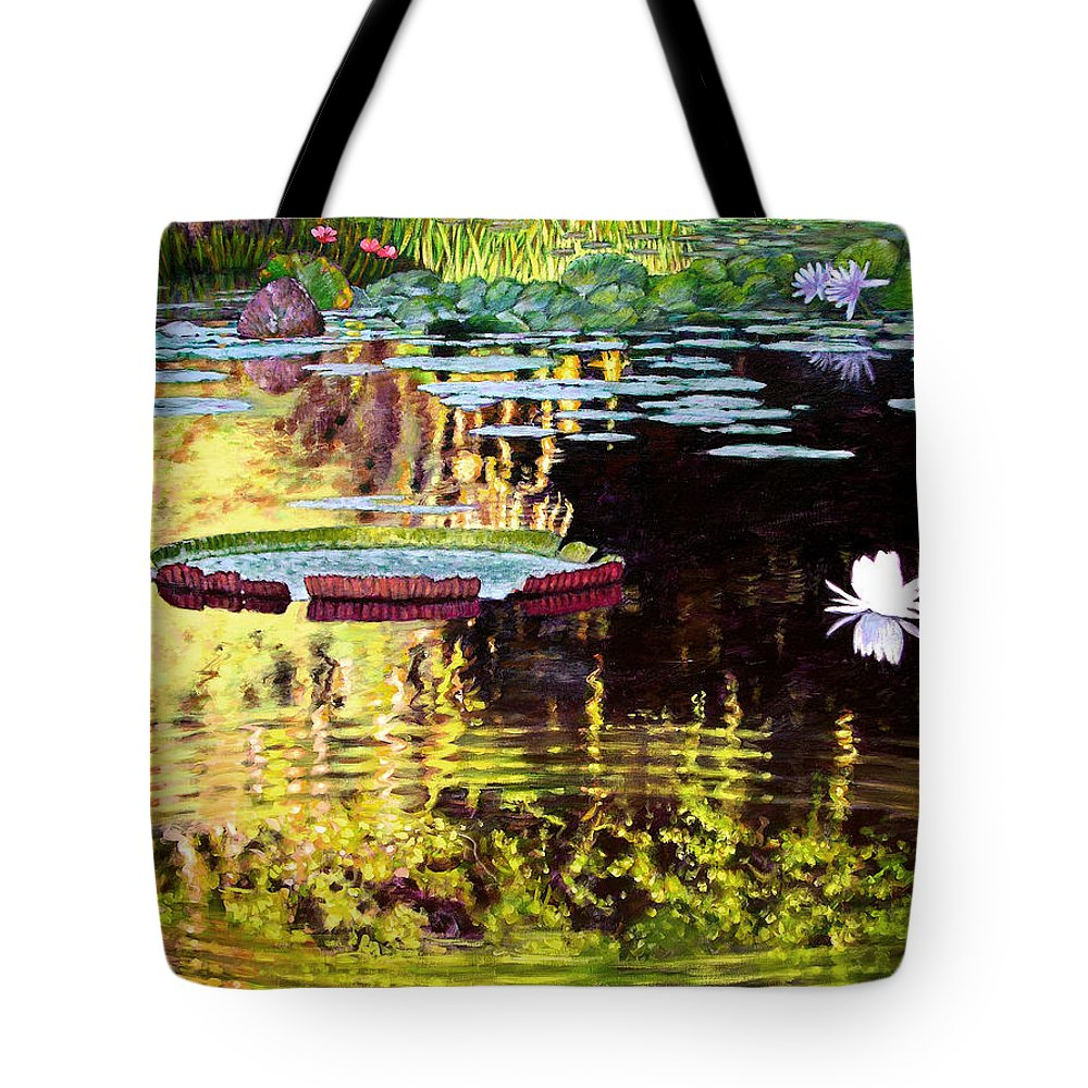 Garden Pond Tote Bag featuring the painting Ripples On A Quiet Pond by John Lautermilch