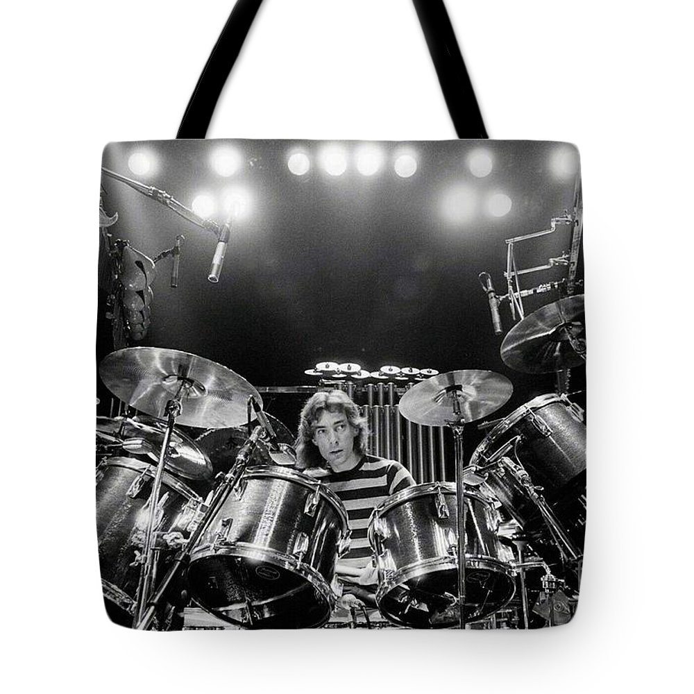 Rush Tote Bag featuring the digital art Rush Neil Peart Poster by Trindira A