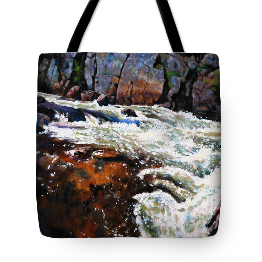 Mountain Stream Tote Bag featuring the painting Rushing Waters Colorado by John Lautermilch
