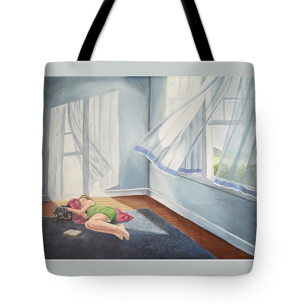 Curtains Blowing Tote Bag featuring the painting Summer Napping by Wanda Dansereau