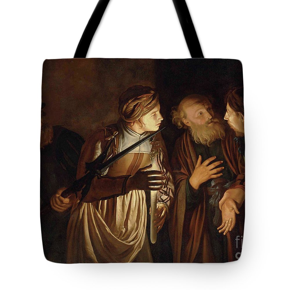Coster Tote Bag featuring the painting The Denial of Saint Peter by Adam de Coster