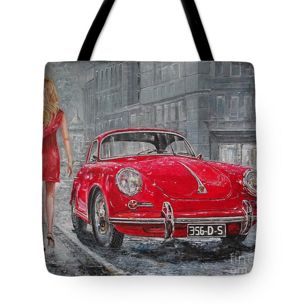 Classic Car Paintings Tote Bag featuring the painting 1965 Porsche 356 c by Sinisa Saratlic