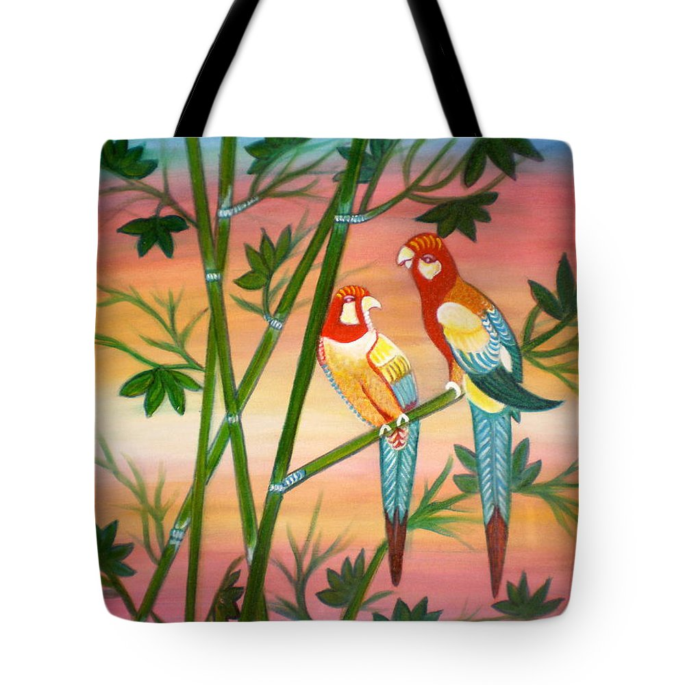 Acrylic Tote Bag featuring the painting Birds in Paradise by Manjiri Kanvinde