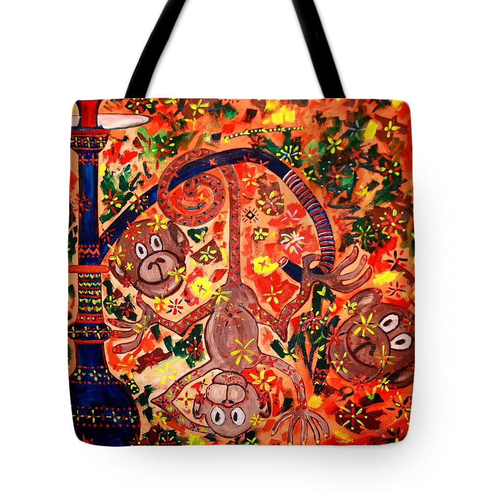 Contemporary Folk Tote Bag featuring the painting Jinga Monkeys by Fareeha Khawaja