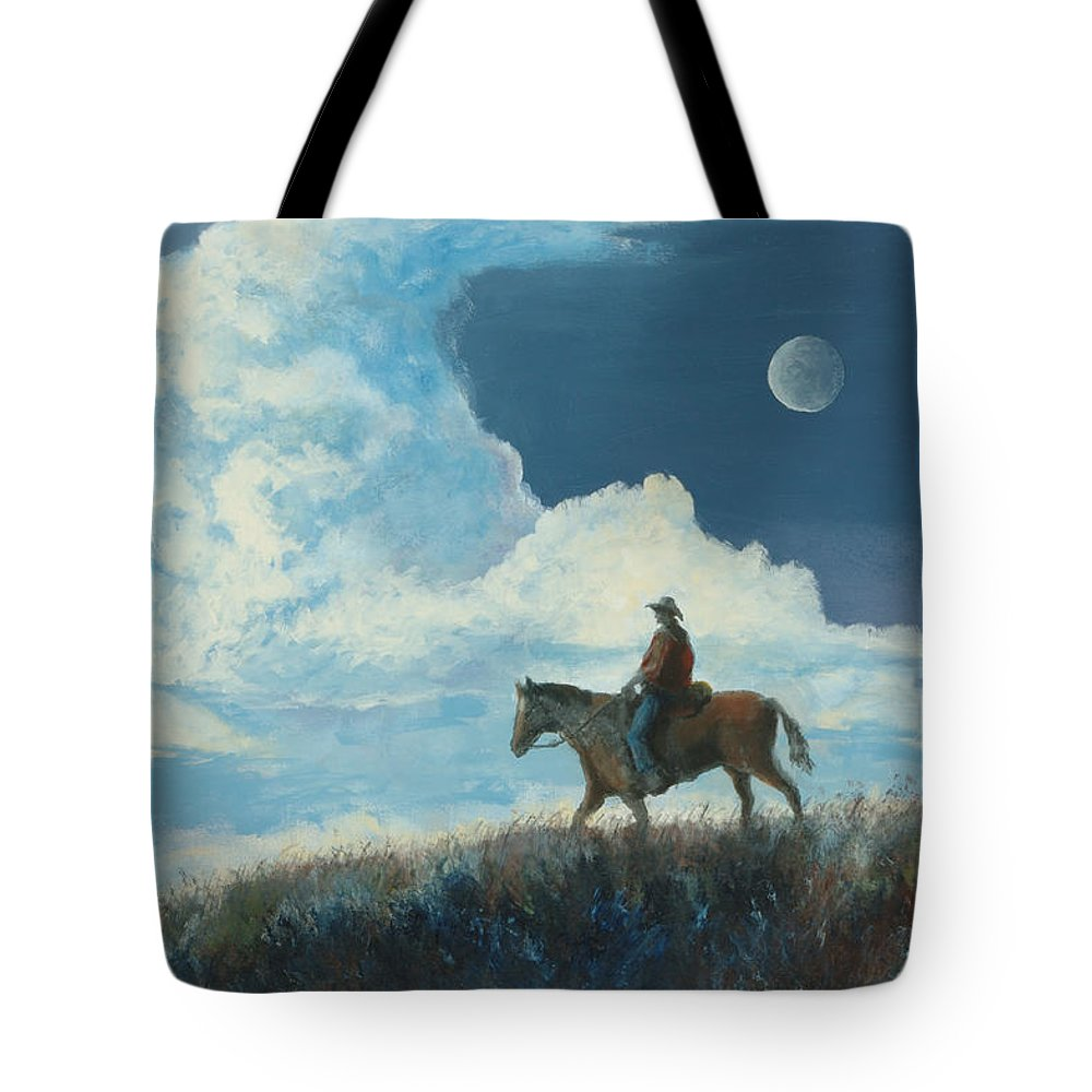 Cowboy Tote Bag featuring the painting Rider Against the Sky by Jerry McElroy