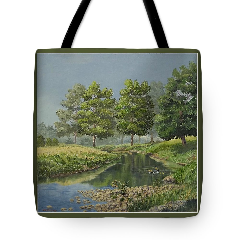 The Ky. Landscape Tote Bag featuring the painting The First Swim by Wanda Dansereau