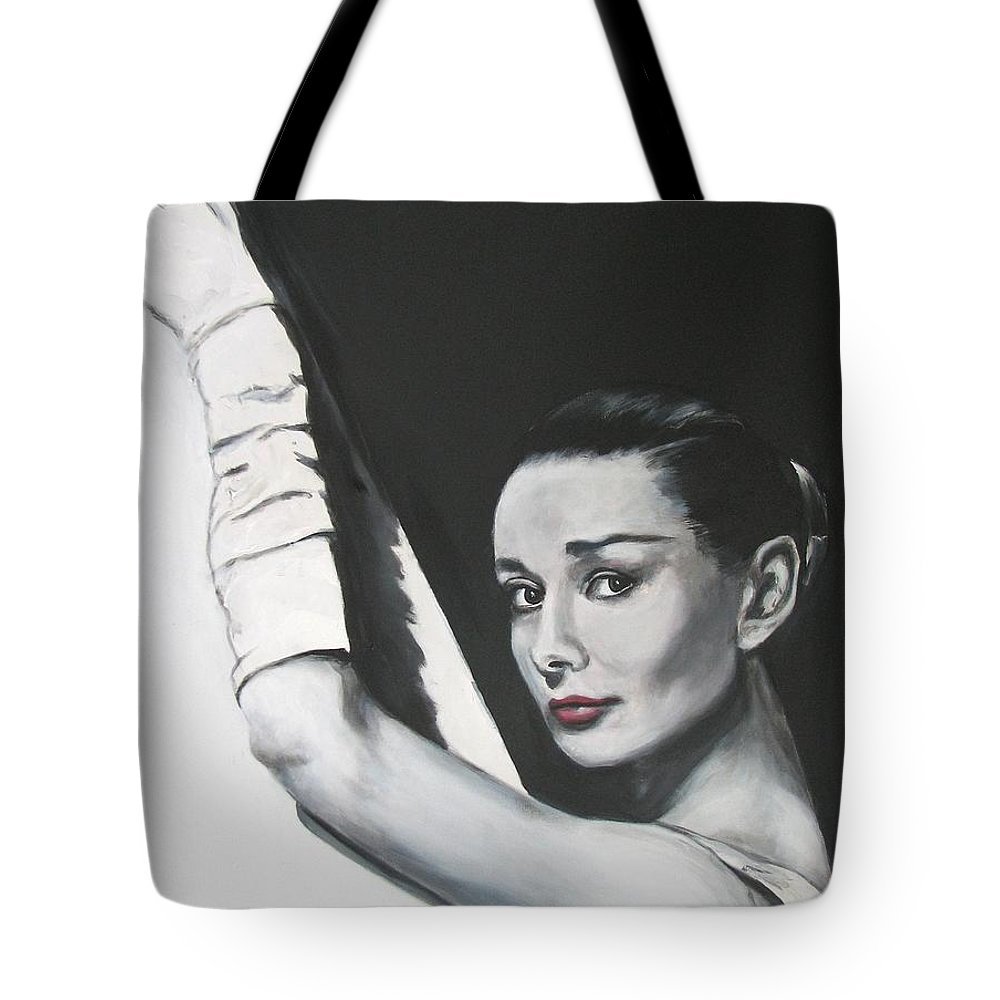 Audrey Hepburn Tote Bag featuring the painting Audrey Hepburn by Eric Dee