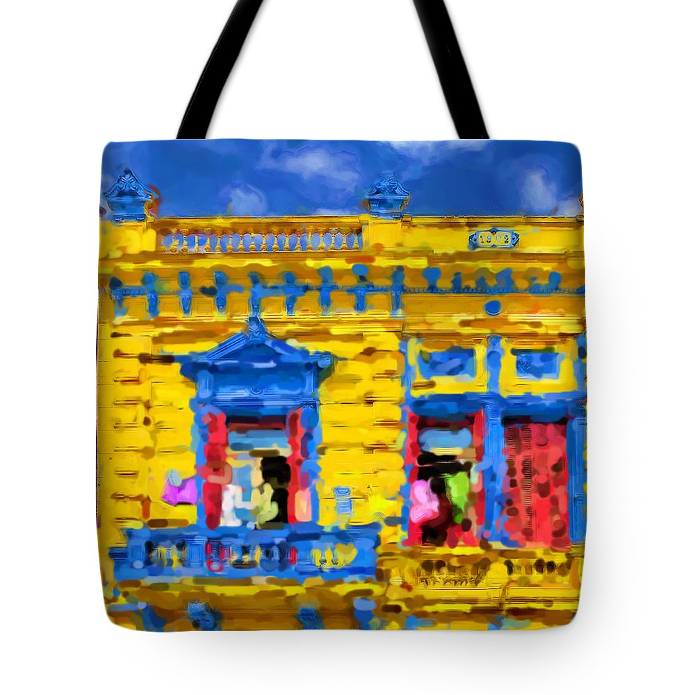 Buenos Aires Tote Bag featuring the mixed media Buenos Aires by Asbjorn Lonvig