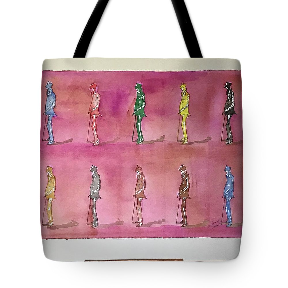 Figures Tote Bag featuring the painting James Joyce the Pluralist, Paris by Roger Cummiskey