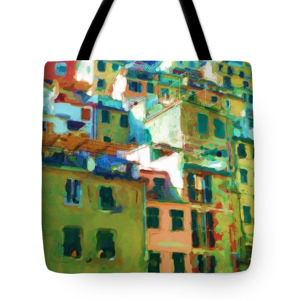 Cinque Terre Tote Bag featuring the mixed media Cinque Terre by Asbjorn Lonvig