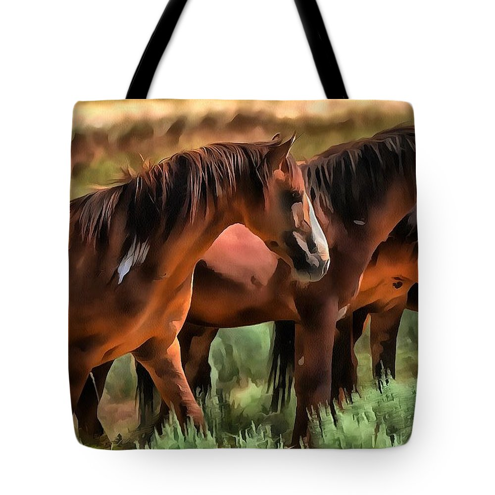 Wild Mustang Tote Bag featuring the photograph A Band Of Wildies by Fine Art Western Paintings